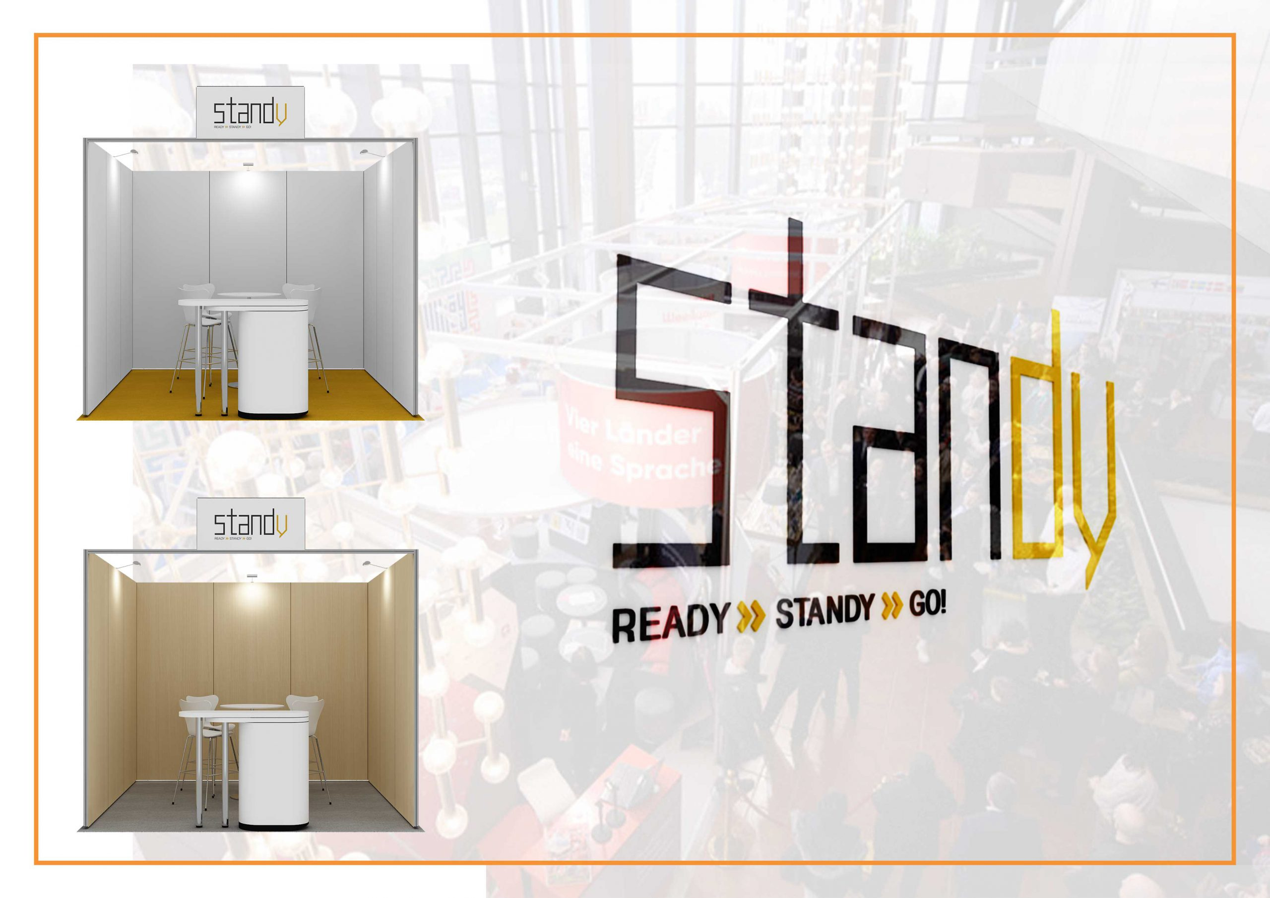 Standy Logo with two images of stand designs